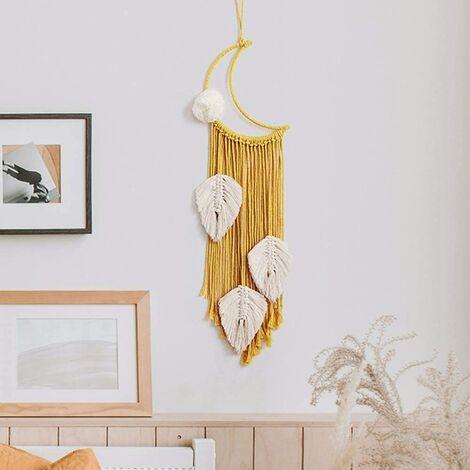 Attrape-rêves de lune (jaune), macramé à suspendre - Tapisserie tissée à la main - Accessoires de décoration pour chambre d'enfant - Décoration de mariage - Cadeau d'artisanat