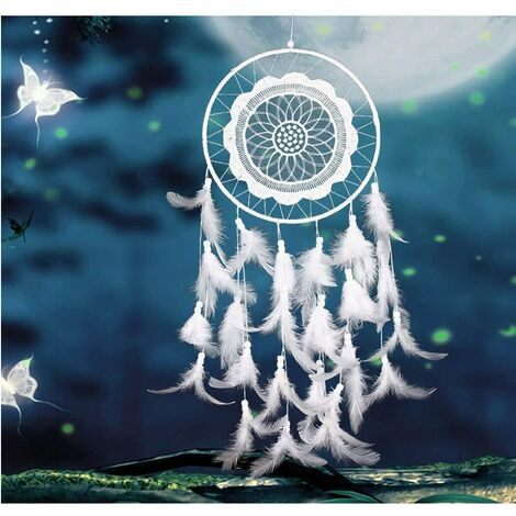 Attrape-rêves Grand Blanc faite à la main pendentif pour voiture décoration de chambre