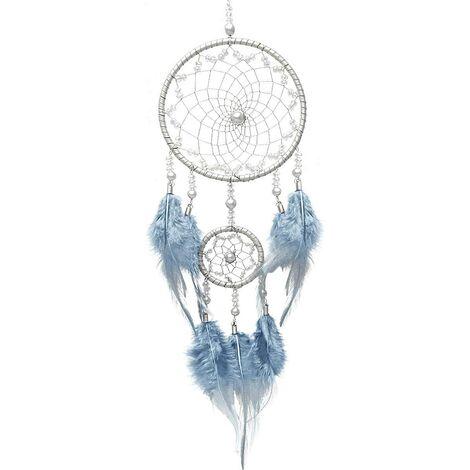 Attrape Rêves Indien Naturel Capteur de Rêves Plume Vintage Dream Catcher Fait à la Main Chambre Voiture Décoration pour Fille Enfant – Bleu Argent