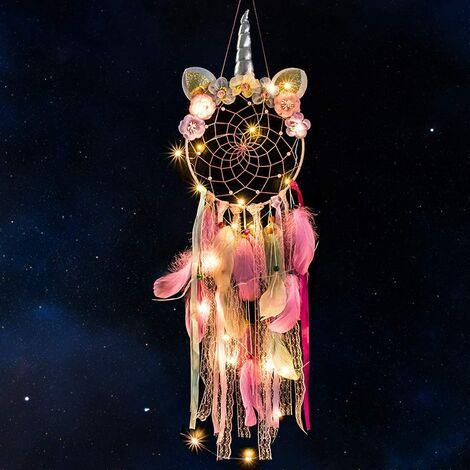 Attrape-rêves licorne avec plumes à la main fleur rose attrape-rêves pour filles, décoration murale de chambre à coucher
