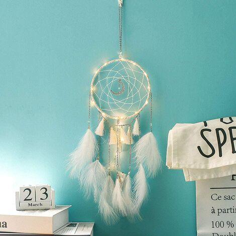 Attrape-rêves lumineux - Décoration de chambre à coucher - Blanc chaud - Avec guirlande lumineuse LED - Cadeau pour Noël ou anniversaire