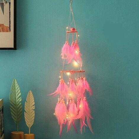 Attrape-rêves lumineux rose et blanc chaud - avec filaments LED - blanc chaud - décoration idéale pour une chambre de fille