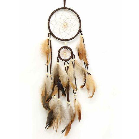 Attrape-rêves marron de Style indien plumes Core Bead Dreamcatcher pour la décoration de voiture murale