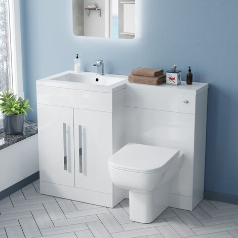 Aubery 1100mm LH Bathroom Basin Combination Vanity Unit White and Debra Rimless Back To Wall WC Toilet