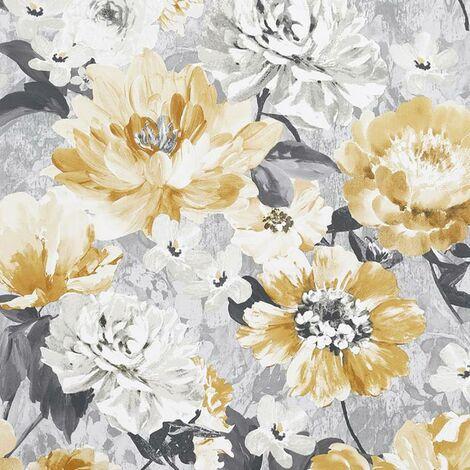 Aubrey Floral Ochre Wallpaper Arthouse Textured Vinyl Yellow Grey White Flower