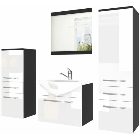 AUDEL | Ensemble meubles salle de bain 5 pcs | Miroir + Vasque 50 cm + Meuble sous lavabo | 2 meubles colonnes - Blanc/Noir