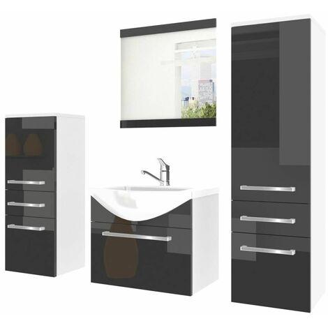 AUDEL | Ensemble meubles salle de bain 5 pcs | Miroir + Vasque 50cm + Meuble sous lavabo | 2 meubles colonnes - Noir/Blanc