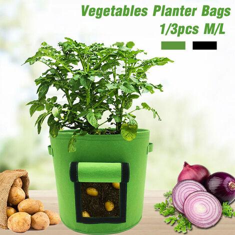 Audew 1 / 3PCS 26 / 38L Pomme de terre Taro Radis Grow Planter Sacs Sac de plantation de légumes Feutre Tissu Tomate Plant Sac Jardin Intérieur Extérieur Plantation (vert, L 35x48cm 1PC)