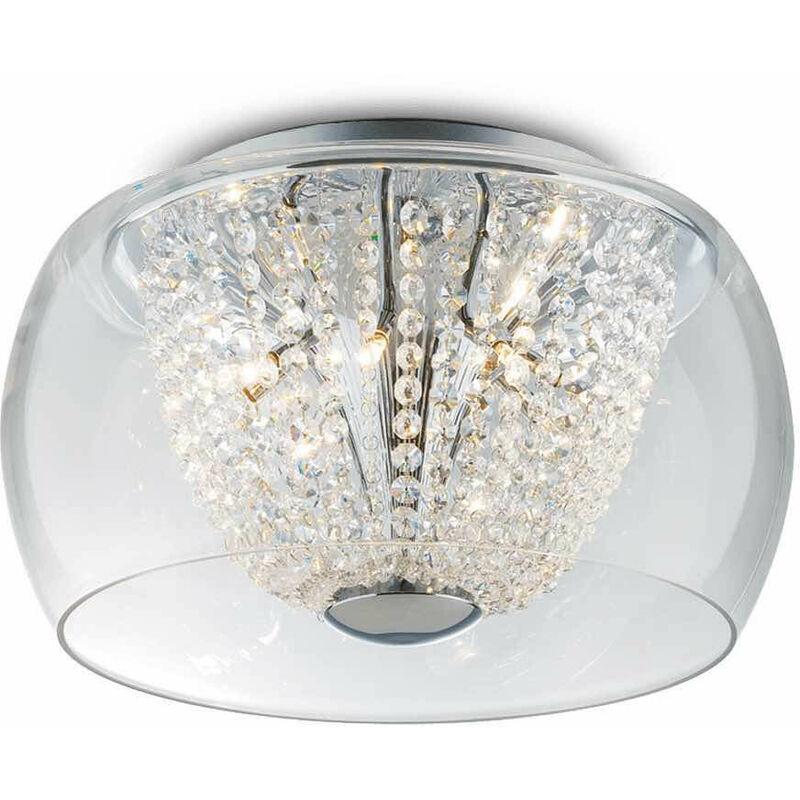 01-ideal Lux - AUDI-61 Chrom Kristall Deckenleuchte 6 Lampen