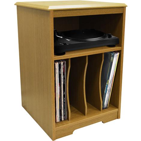 AUDIO - Turntable / LP Record / Vinyl Storage Side End / Bedside Table - Oak