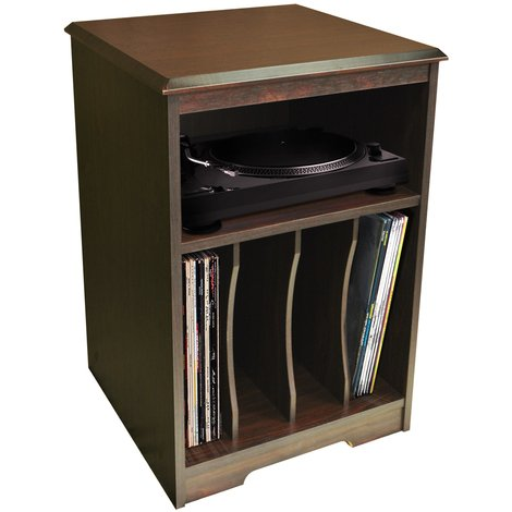 AUDIO - Turntable / LP Record / Vinyl Storage Side End / Bedside Table - Walnut
