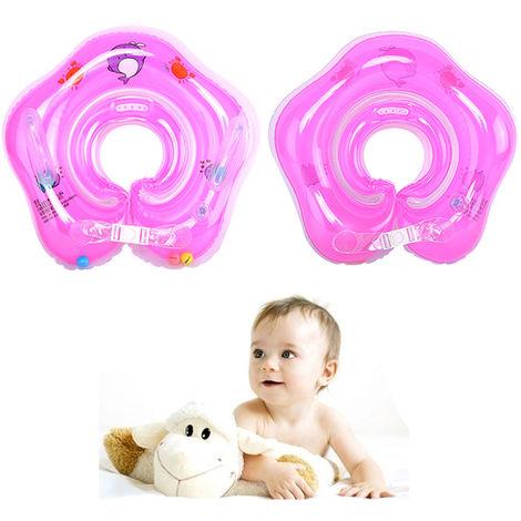 Aufblasbarer Hals Schwimmring Kinder Baby Säuglings Schwimmhilfe Schwimmkragen Rosa