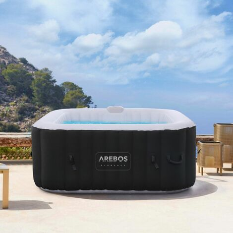 aufblasbarer Whirlpool In-Outdoor - 4 Personen – 130 Düsen - 154 x 154 cm – 550 Liter - Spa Pool - Massage, Heizung, Wellness