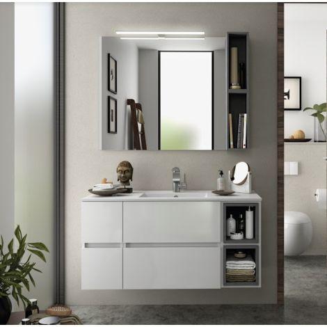 Aufgehängt Badezimmerschrank 110 cm glänzend weiß mit spiegel ...