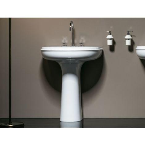 Aufgehängt Waschbecken runder mit Säule 70x51 cm Azzurra ceramica reihe  Charme   Glänzendes Weiß