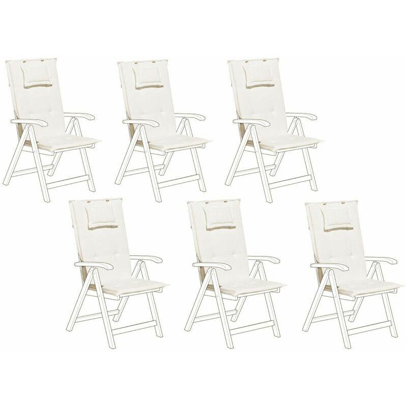 Beliani - Auflage für Gartenstuhl Cremeweiß Polsterbezug 6er Set Gartenmöbel