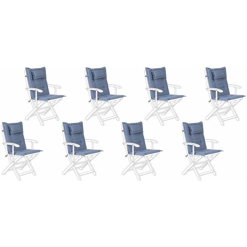 Auflage für Gartenstuhl Blau Polsterbezug 8er Set Gartenmöbel