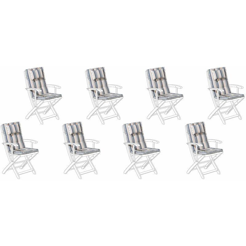 Auflage für Gartenstuhl dunkelblau-beige Polsterbezug 8er Set Gartenmöbel
