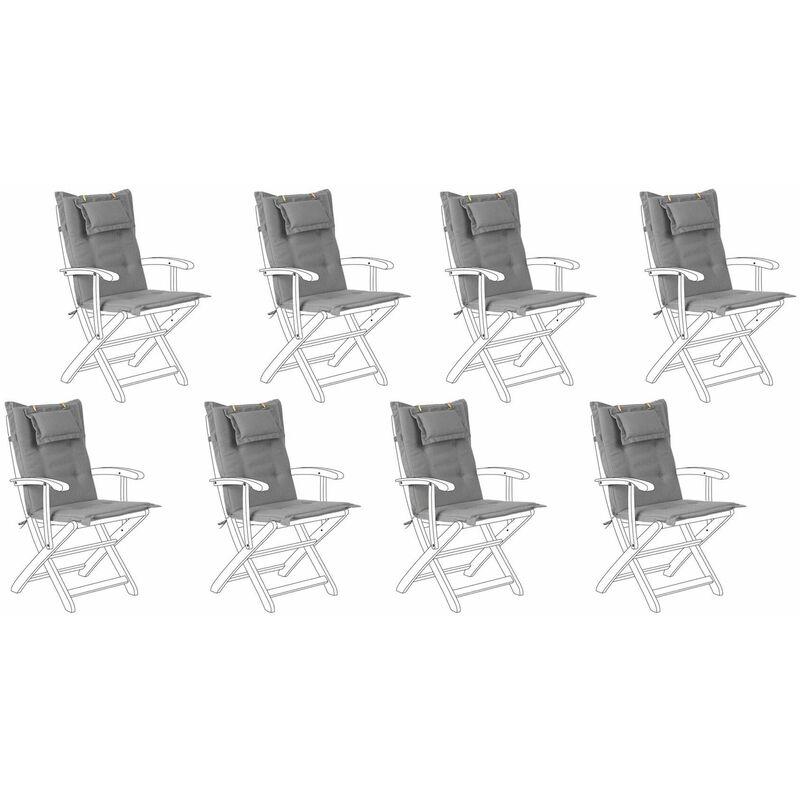 Auflage für Gartenstuhl Grau Polsterbezug 8er Set Gartenmöbel