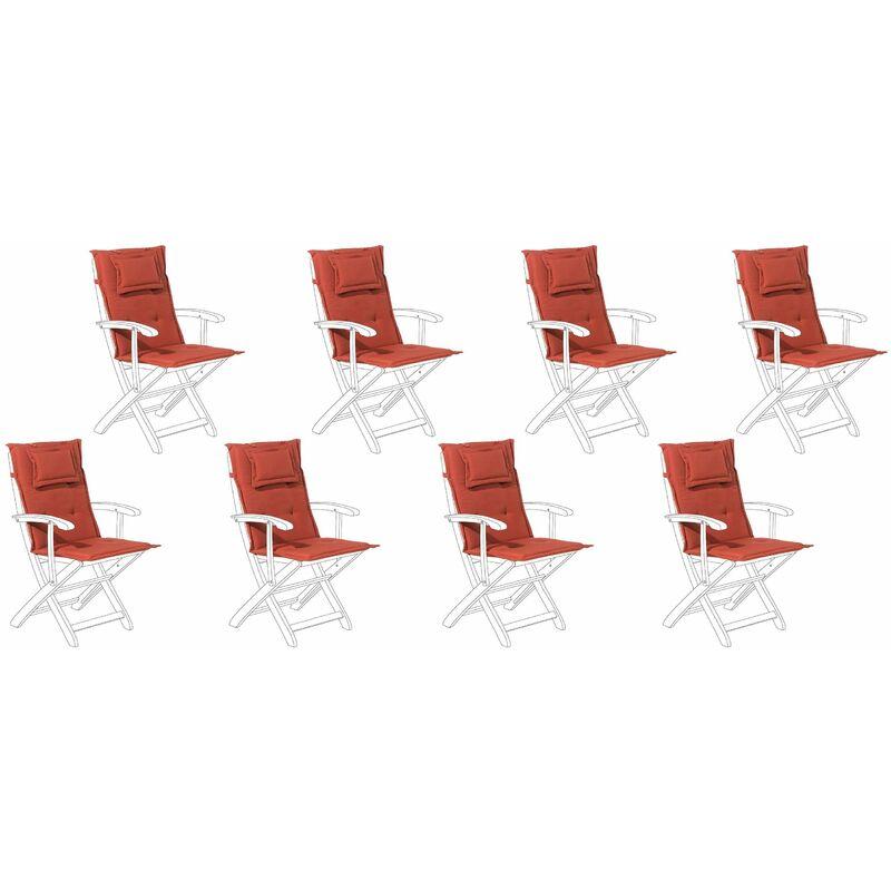 Auflage für Gartenstuhl Terracotta Polsterbezug 8er Set Gartenmöbel - BELIANI