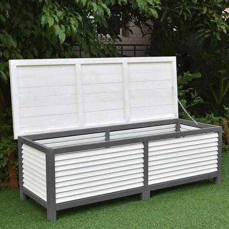 Auflagenbox 140CM Kissenbox Holz Gartentruhe Gartenbox Auflagentruhe Truhe Grau / Weiß