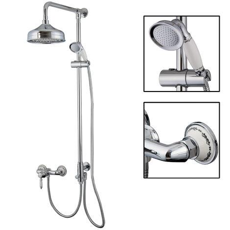 Aufputz Duschsystem Retro Nostalgie Regendusche Set