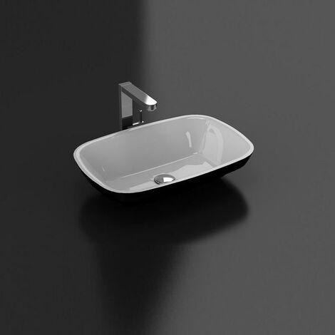 Aufsatzwaschbecken aus Gussmarmor rechteckig SIENA schwarz/weiß