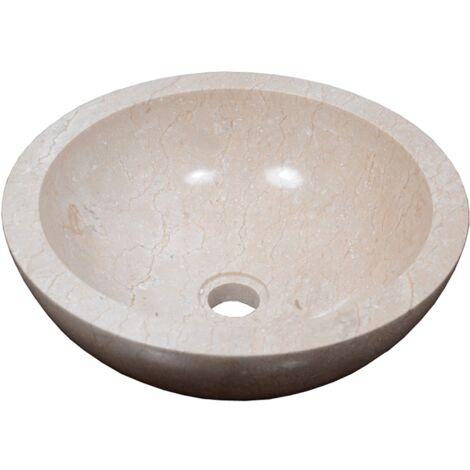 Aufsatzwaschbecken aus Naturstein Ø35cm Marmor BASTI creme