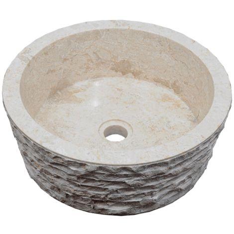 Aufsatzwaschbecken aus Naturstein Ø40 cm Marmor SIRSA creme