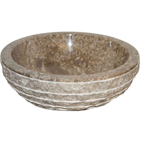 Aufsatzwaschbecken aus Naturstein Ø40 cm Marmor TIKHI grau