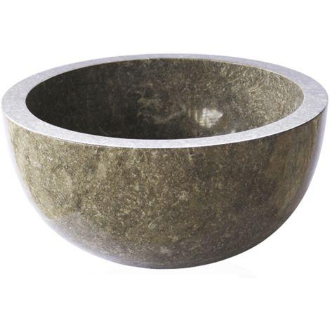 Aufsatzwaschbecken aus Naturstein Marmor Ø40cm BASTI grau
