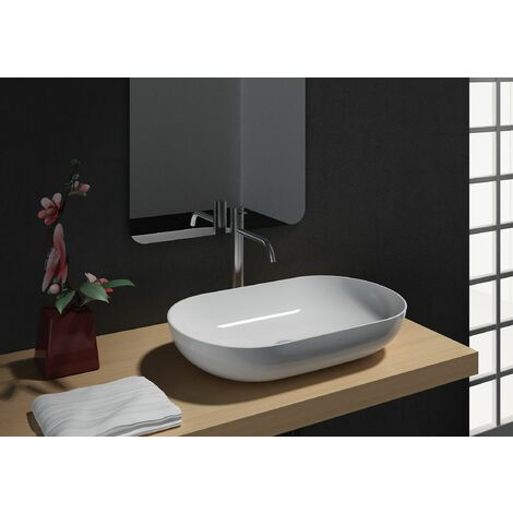 Aufsatzwaschbecken O-540 aus Mineralguss - Weiß hochglanz - 54 x 34 x 10,5 cm