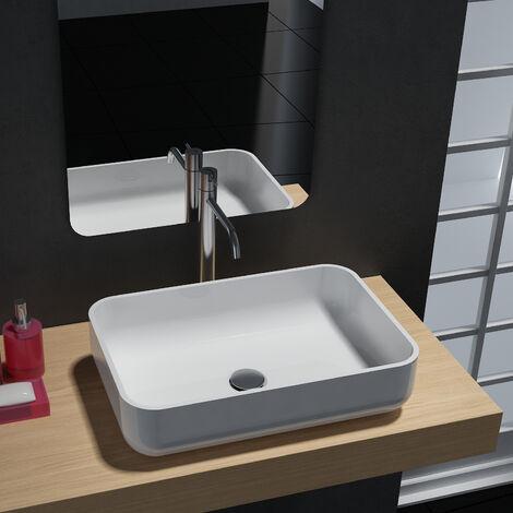 Aufsatzwaschbecken PB2133 aus Mineralguss - in Weiß oder Schwarz - 54 x 36 x 13 cm