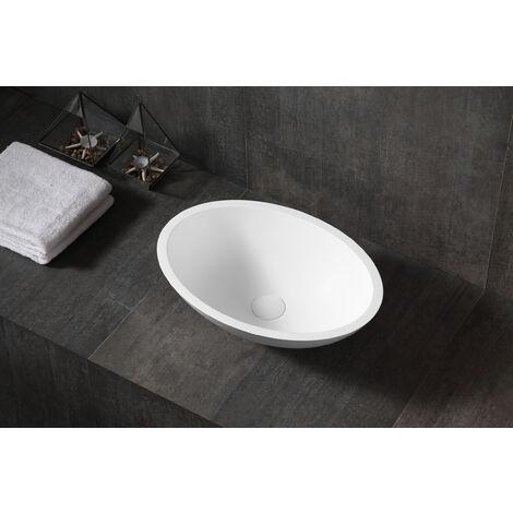 Aufsatzwaschbecken TW2106 aus Mineralguss Pure Acrylic - Hochglanz - 50 x 35 x 15 cm