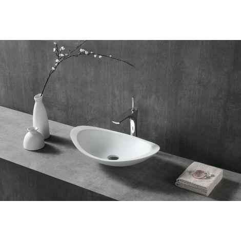 Aufsatzwaschbecken TWA05 aus Mineralguss (Pure Acrylic) - Hochglanz - 60,5 x 38 x 14,5 cm