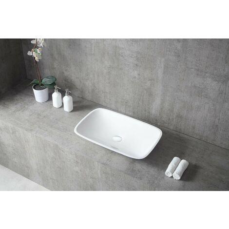 Aufsatzwaschbecken TWA06 aus Mineralguss (Pure Acrylic) - Hochglanz - 60,5 x 38,5 x 10,5 cm Mit Ablaufgarnitur, mit zusätzl. Blende in Weiß