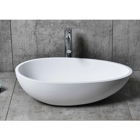 Aufsatzwaschbecken TWA65 aus Mineralguss Pure Acrylic - in Weiß oder Schwarz - 60x35x16cm Ohne Ablaufgarnitur, ohne zusätzl. Blende, Schwarz (hochglanz)