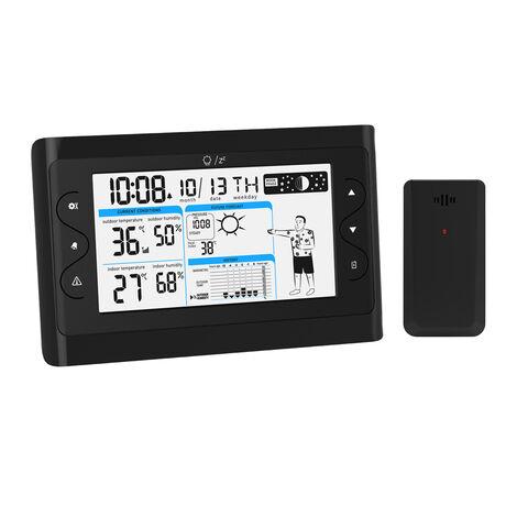AUGINEB LCD Clock Wireless Weather Station Temperature Humidity Barometer Sensor