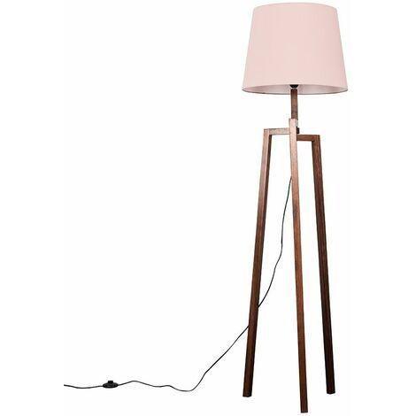 Augustus Dark Wooden LED Tripod Step Floor Lamp - Beige - Brown