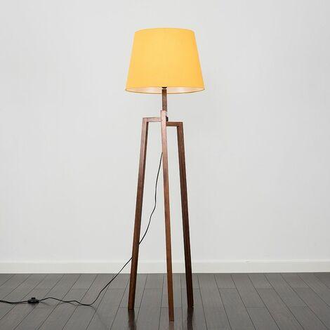 Augustus Dark Wooden LED Tripod Step Floor Lamp - Mustard - Brown