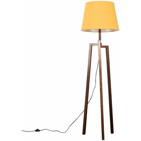 Augustus Dark Wooden Tripod Step Floor Lamp - Beige - Brown