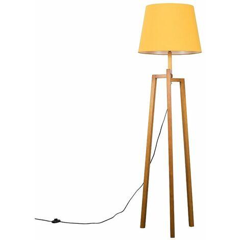 Augustus Natural Wooden LED Tripod Step Floor Lamp - Beige - Brown