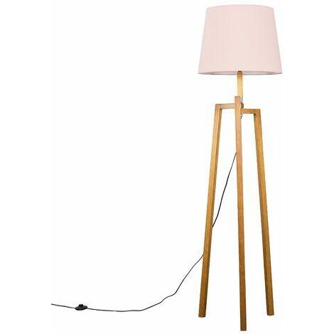 Augustus Natural Wooden Tripod Step Floor Lamp - Pink - Brown