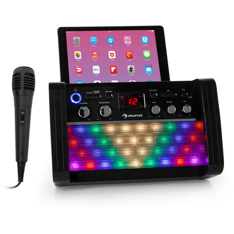 auna DiscoFever 2.0 Impianto Karaoke, BT, Disco-LED, Lettore CD-/CD+G nero