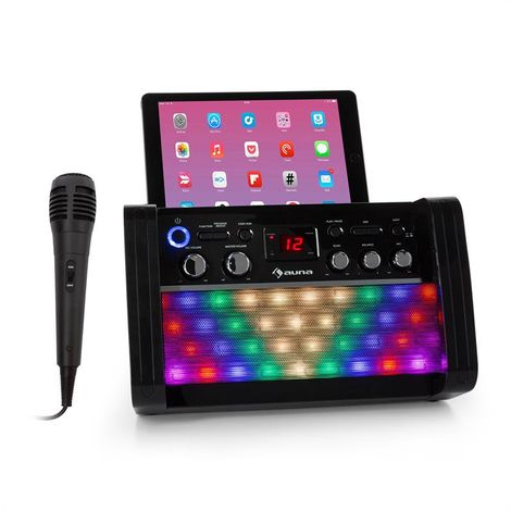 auna DiscoFever 2.0 Karaoke System, BT, Disco LED, CD- / CD + G-Player Black
