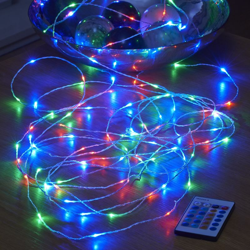Image of 10m Remote Control Plug In Invisible Wire 100 Micro LED String Lights - RGB - Auraglow