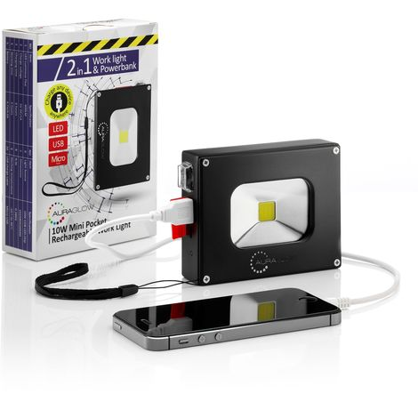 Auraglow 10w LED Rechargeable Cordless Portable Work Flood Light - 60w Eqv & 4000mAh Mobile Phone Charger Power Bank