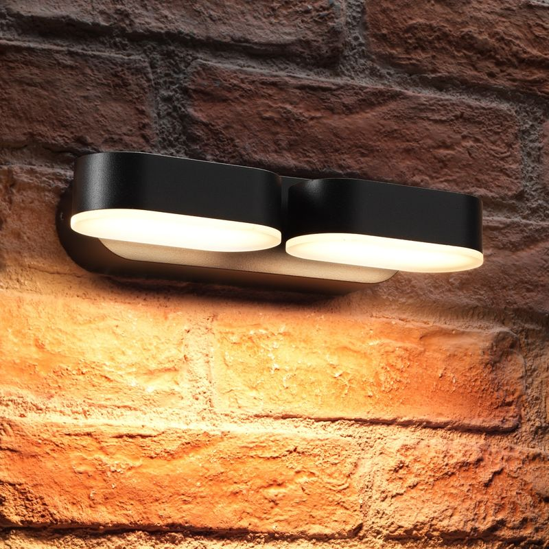 Image of 13w Indoor / Outdoor Integrated Twin LED Up & Down Swivel Rotating Wall Light - Auraglow