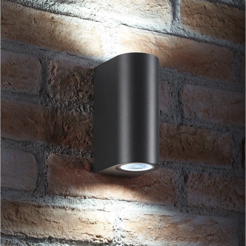 Image of 14w Indoor / Outdoor Double Up & Down Wall Light - LED bulbs Included - Grey - Auraglow