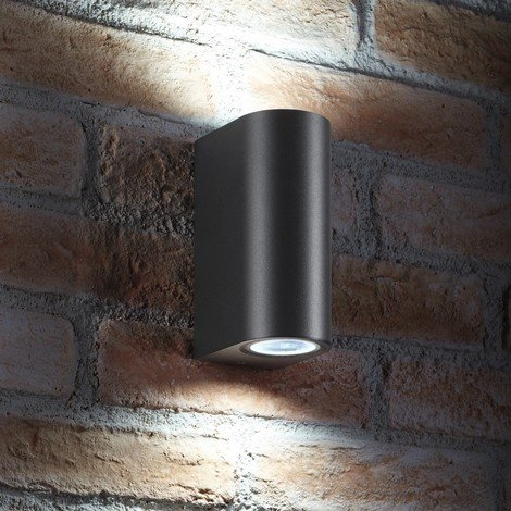 Auraglow 14w Indoor / Outdoor Double Up & Down Wall Light - LED bulbs Included - Grey